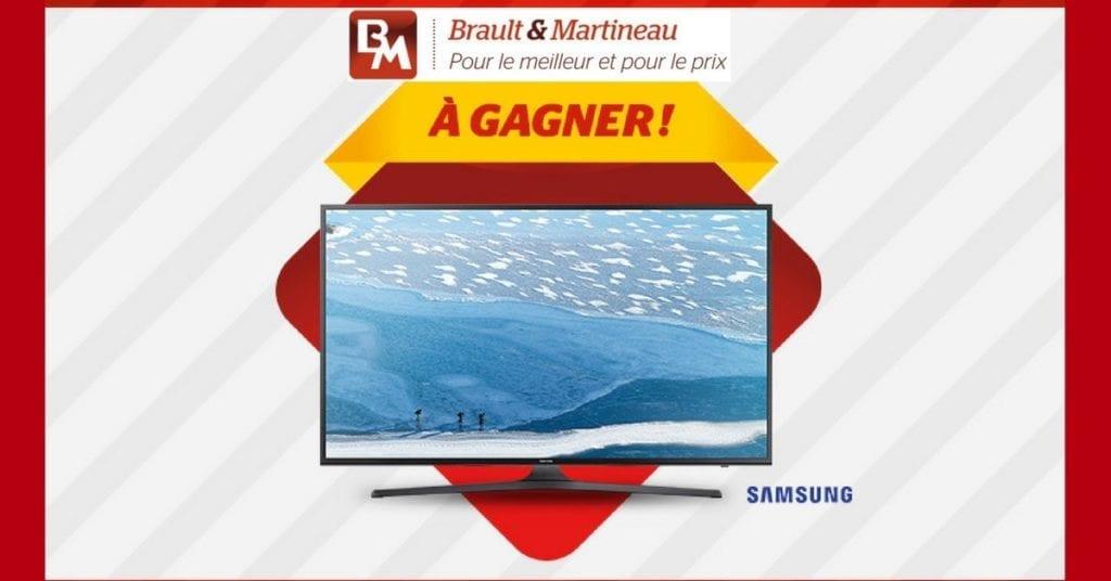 Brault et Martineau organise le concours et offre au chanceux gagnant Téléviseur Samsung intelligent de 60 po d'une valeur de 1 799$. Palam.ca