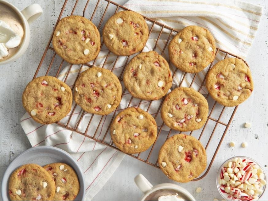 White chocolate Christmas candy cane cookies